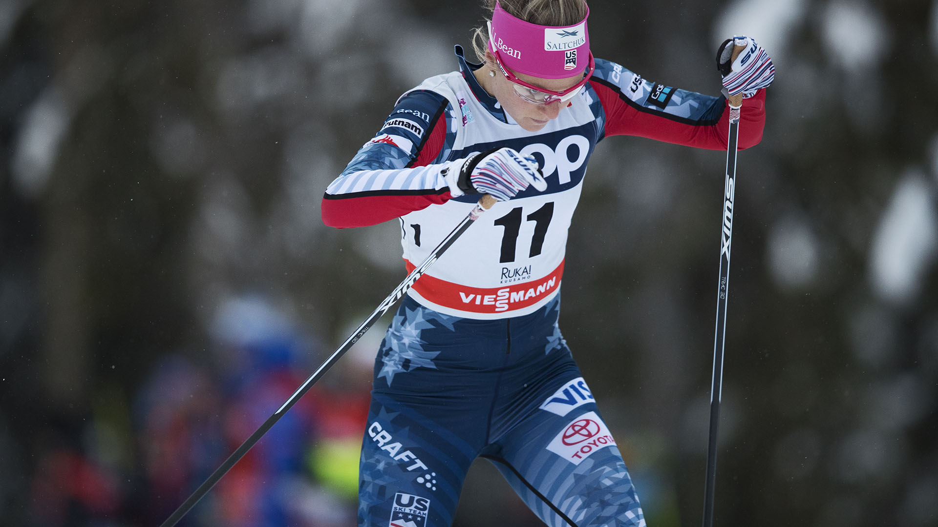 Sadie Bjornsen skied to 10th in the Ruka Nordic Opener pursuit Sunday. (Getty Images)