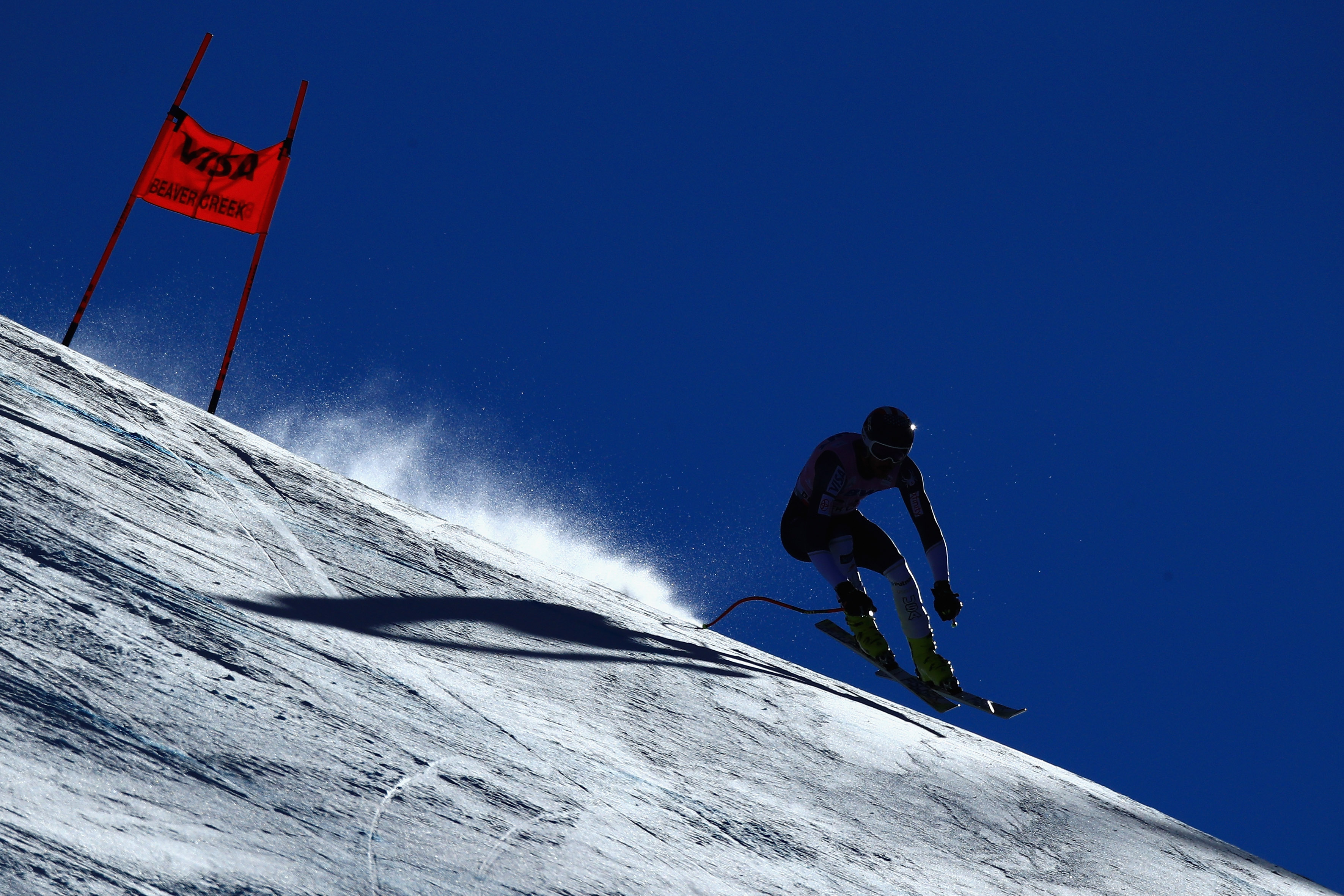 Bryce Bennett skis down the Birds of Prey course in Beaver Creek Saturday. (Getty Images - Ezra Shaw)
