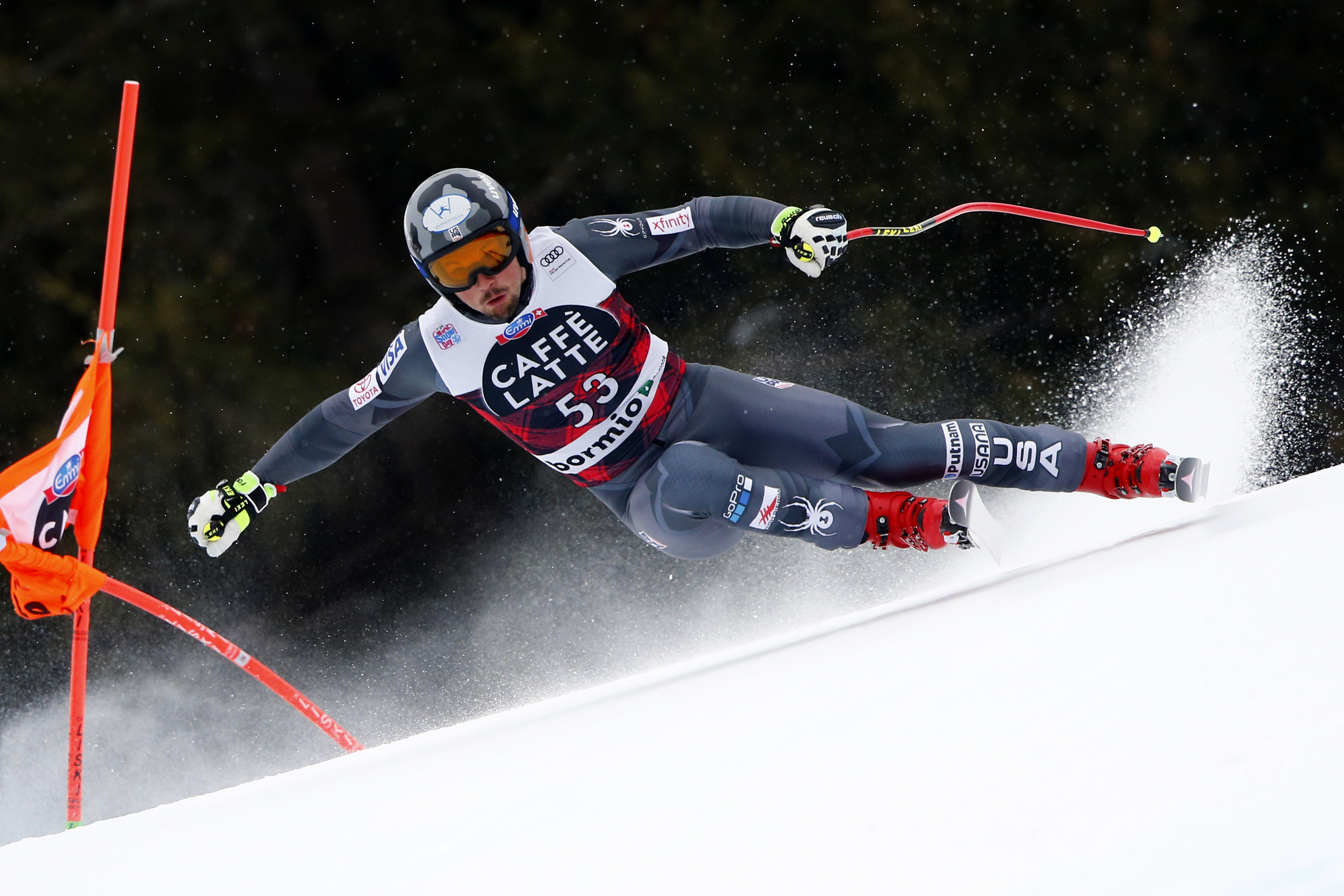 Tommy Biesemeyer finished seventh in Tuesday's FIS Ski World Cup downhill training run in Bormio, Italy.