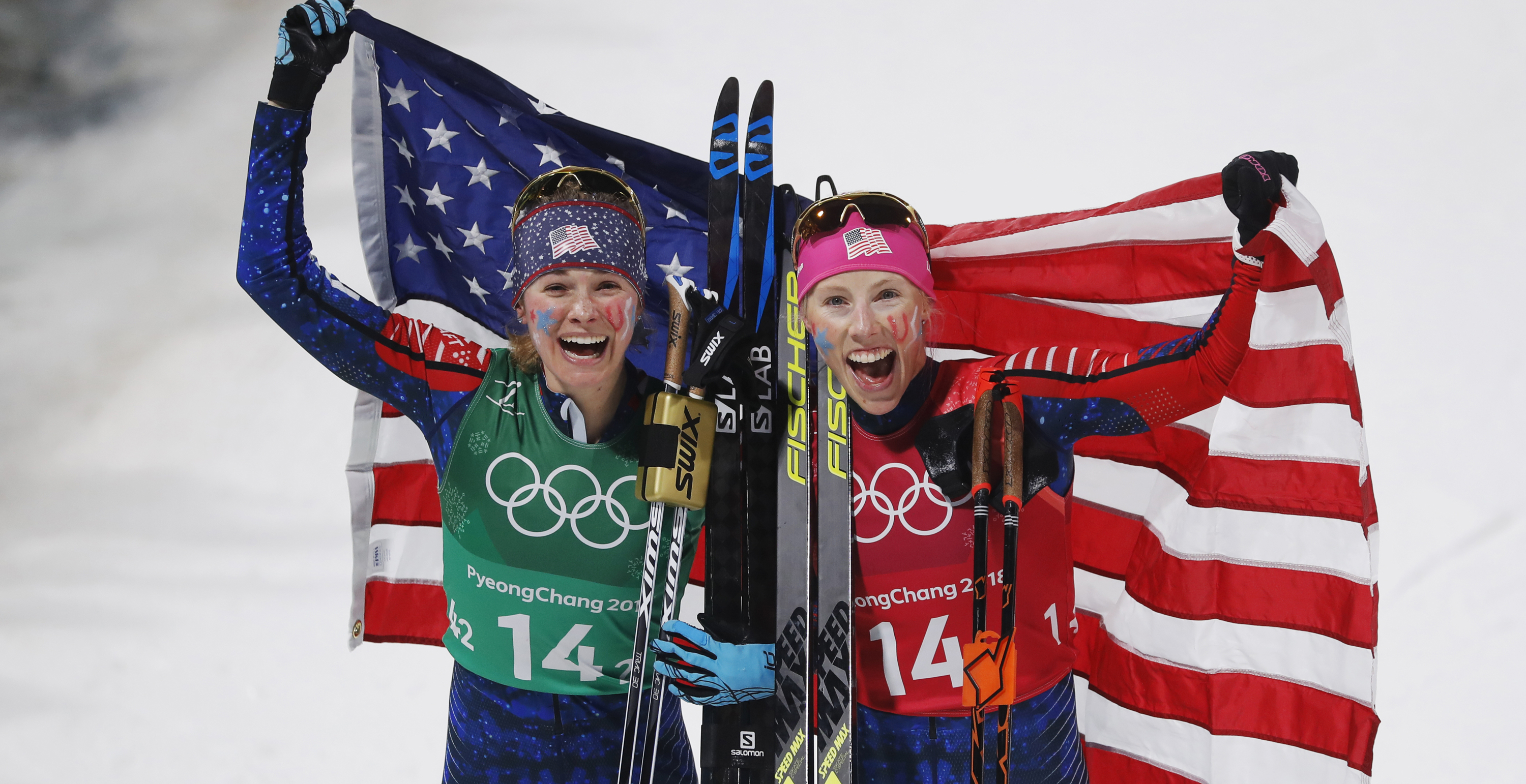 Kikkan Randall and Diggins Jessica celebrate winning gold during the women's Cross Country team sprint at Alpensia Cross-Country Centre Wednesday. (Getty Images - Nils Petter Nilsson)