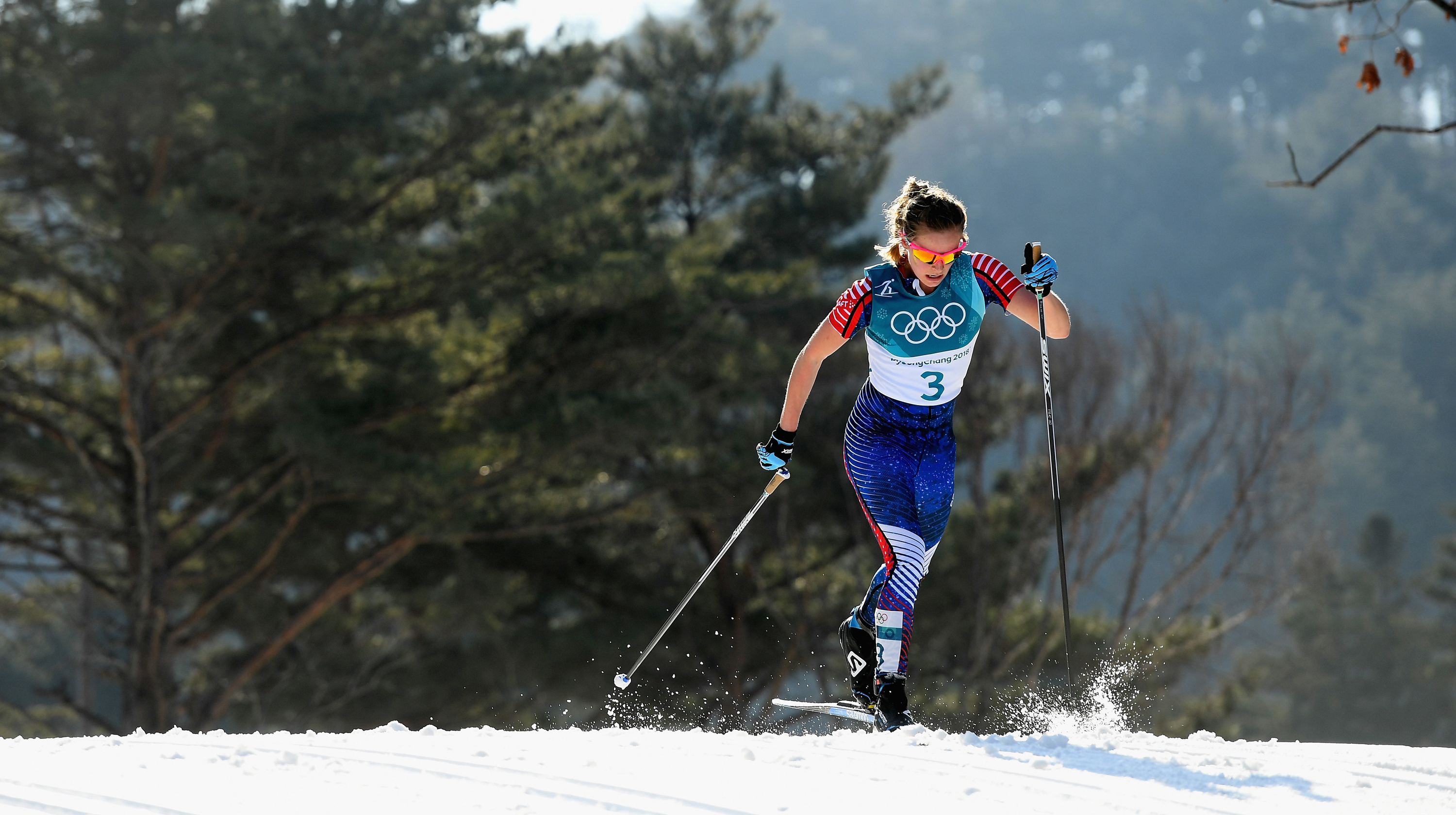 Jessica Diggins finished seventh in the final event of the 2018 Olympic Winter Games Sunday in PyeongChang, South Korea. (Getty Images - Quinn Rooney)
