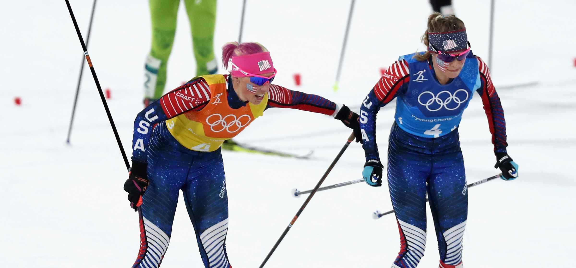 Kikkan Randall tags Jessica Diggins for the final leg of the women's 4x5k relay at Alpensia Cross-Country Centre. (Getty Images - Lars Baron)