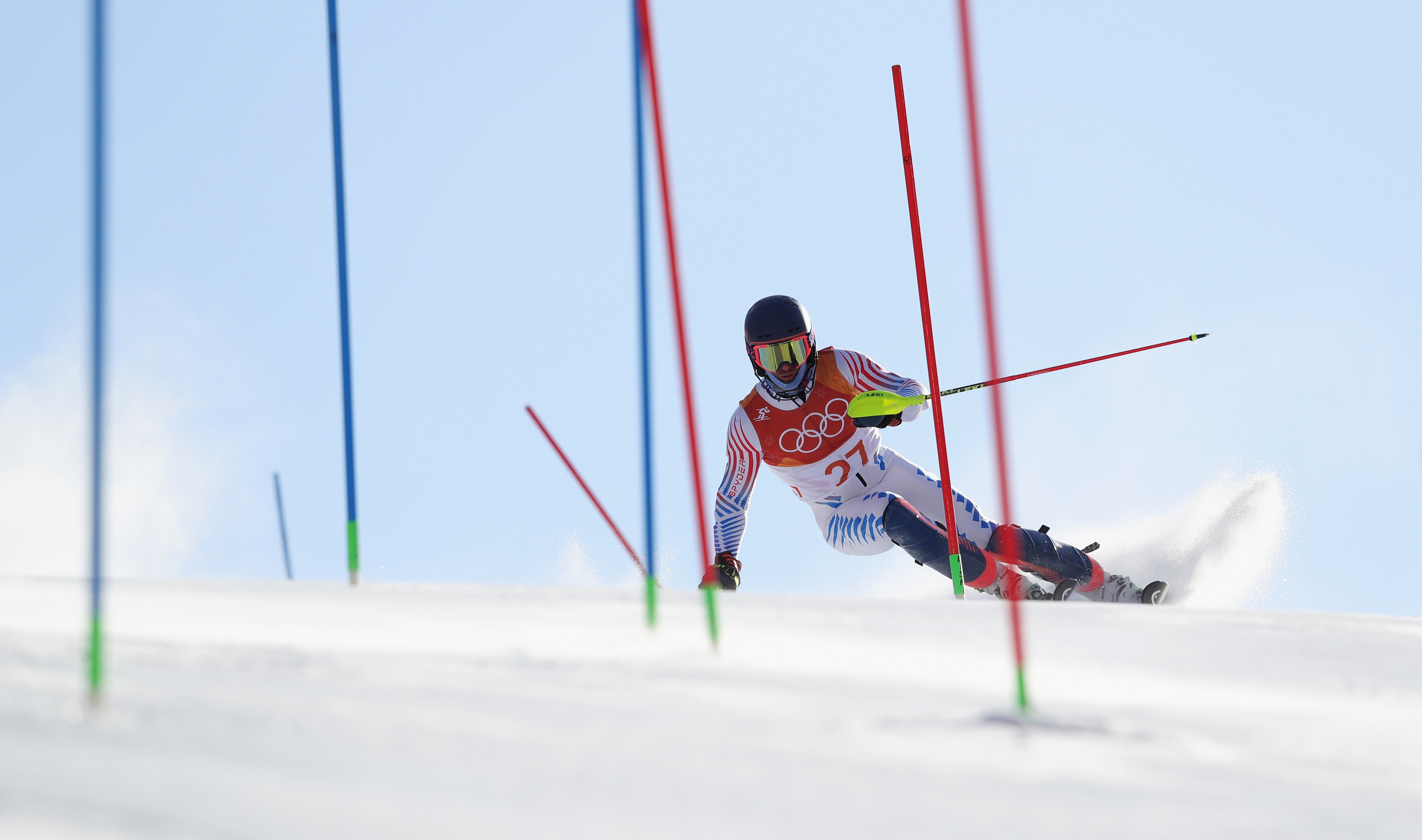 Ted Ligety posted the fourth-fastest slalom run to finish fifth in the alpine combined at Jeongseon Alpine Centre Tuesday. (Getty Images - Alexander Hassenstein)