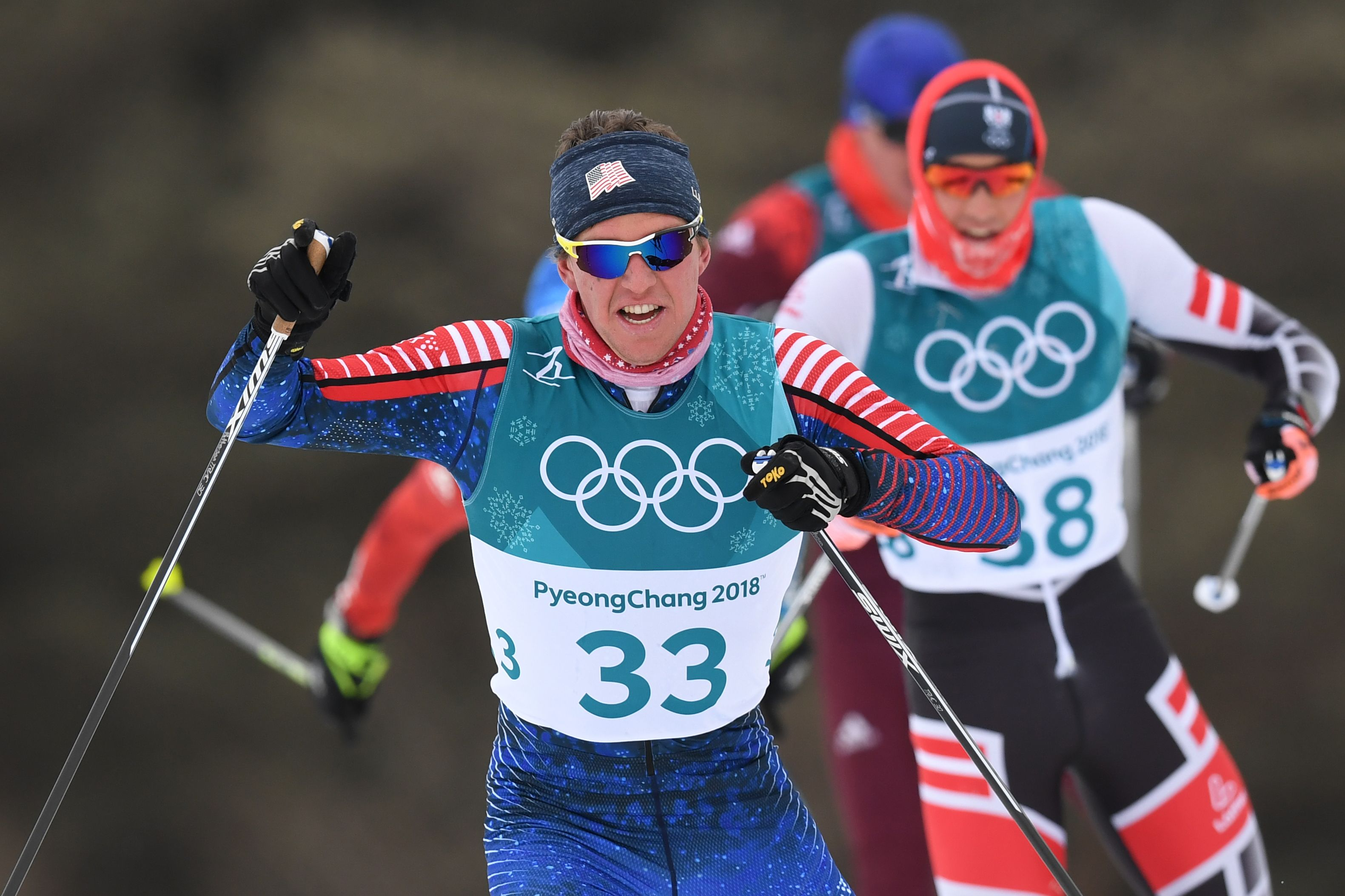 Scott Patterson competes in the men's skiathlon at the Alpensia cross country ski center Sunday. (Getty Images/AFP - Franck Fife)
