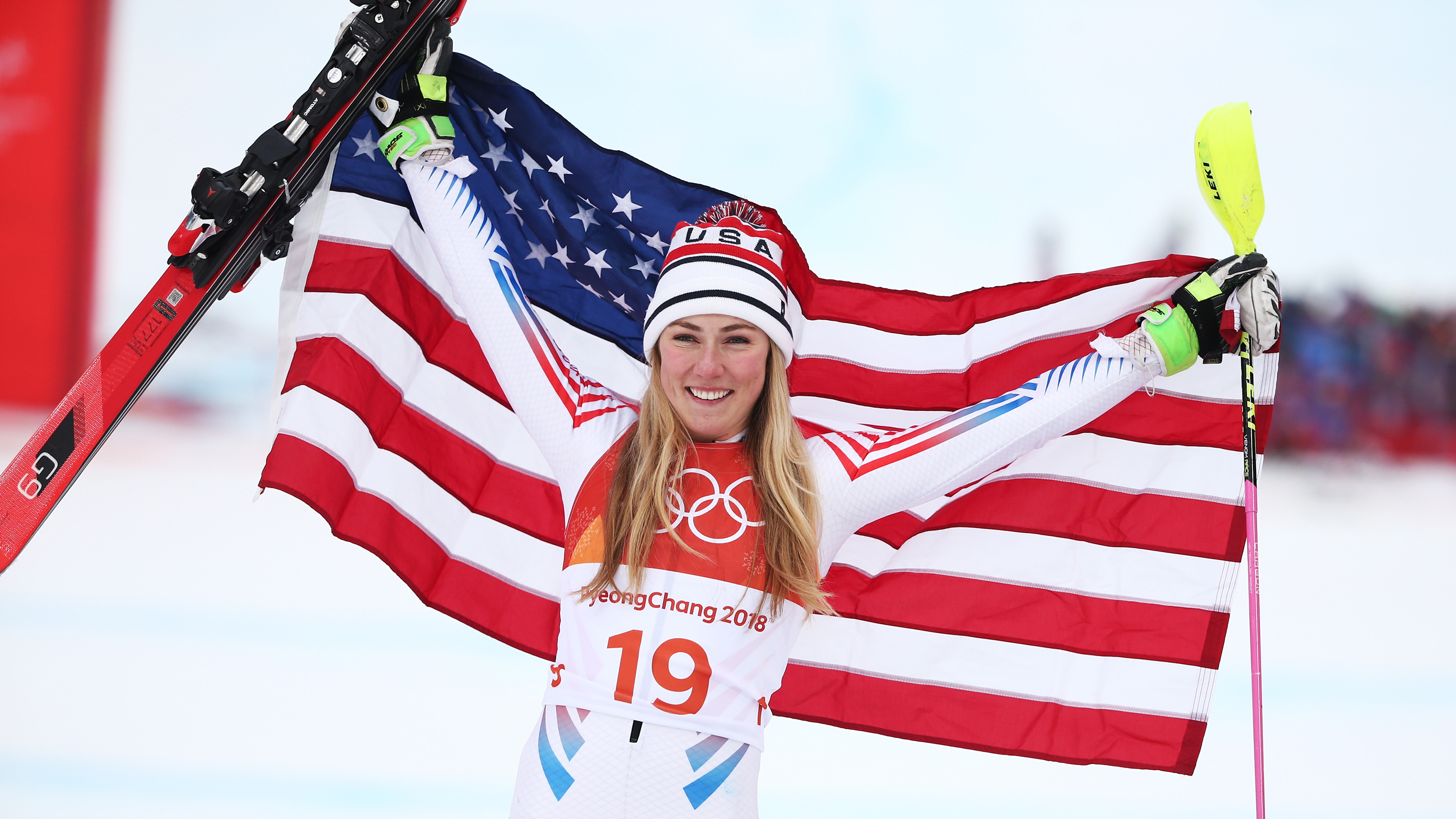 Mikaela Shiffrin celebrates her silver medal in alpine combined Thursday at the 2018 Olympic Winter Games. (Getty Images - Dan Istitene)
