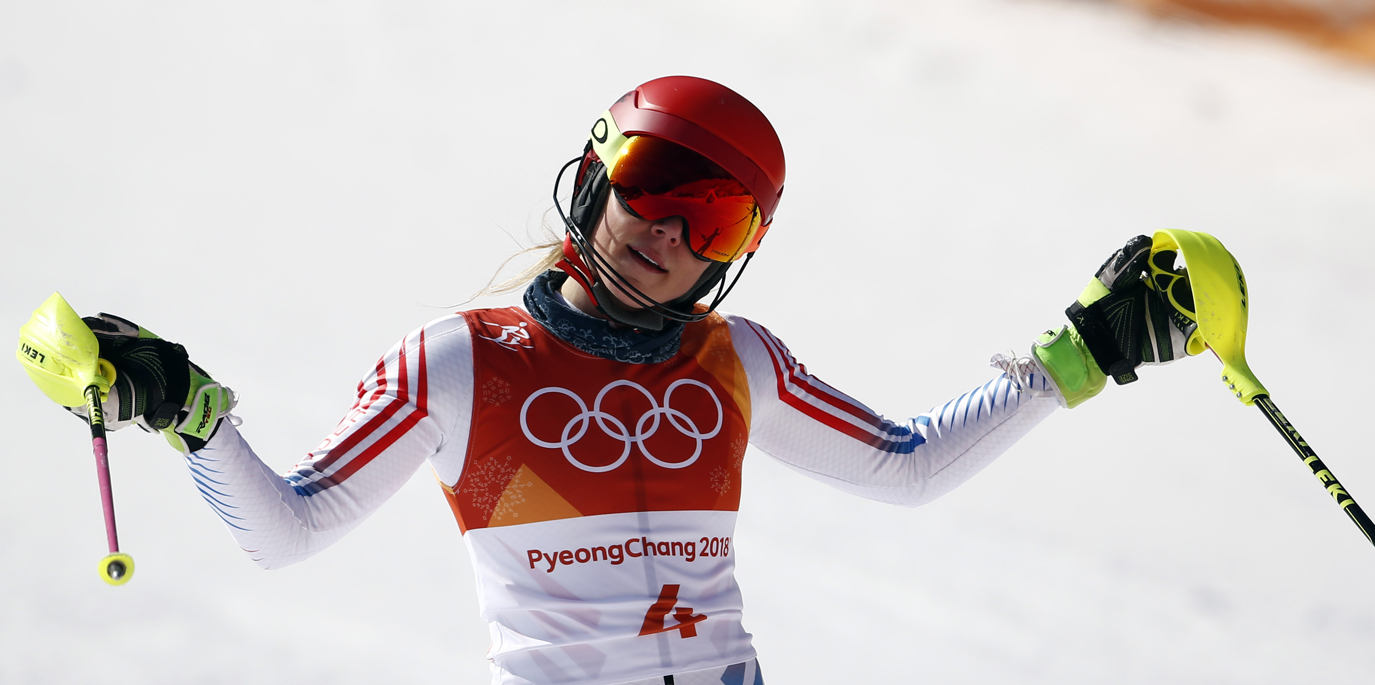 Mikaela Shiffrin reacts following her second run of slalom Friday at Yongpyong Alpine Centre. (Getty Images/Agence Zoom - Giovanni Auletta)