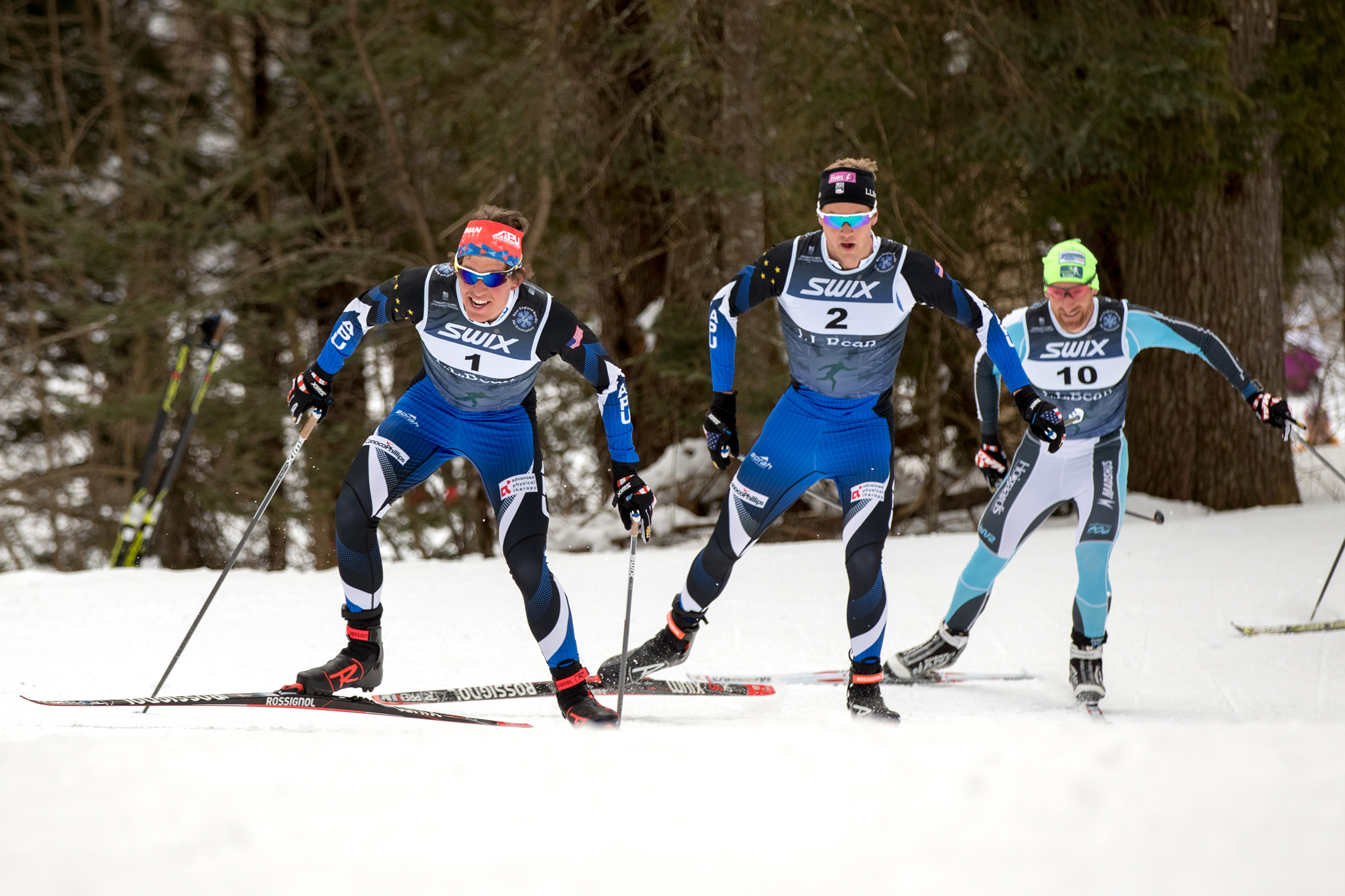 Scott Patterson leads Erik Bjornson and Brian Gregg in the men's 15k freestyle Saturday at the SuperTour Finals in Craftsbury Center, Vt. (U.S. Ski & Snowboard - Reese Brown)