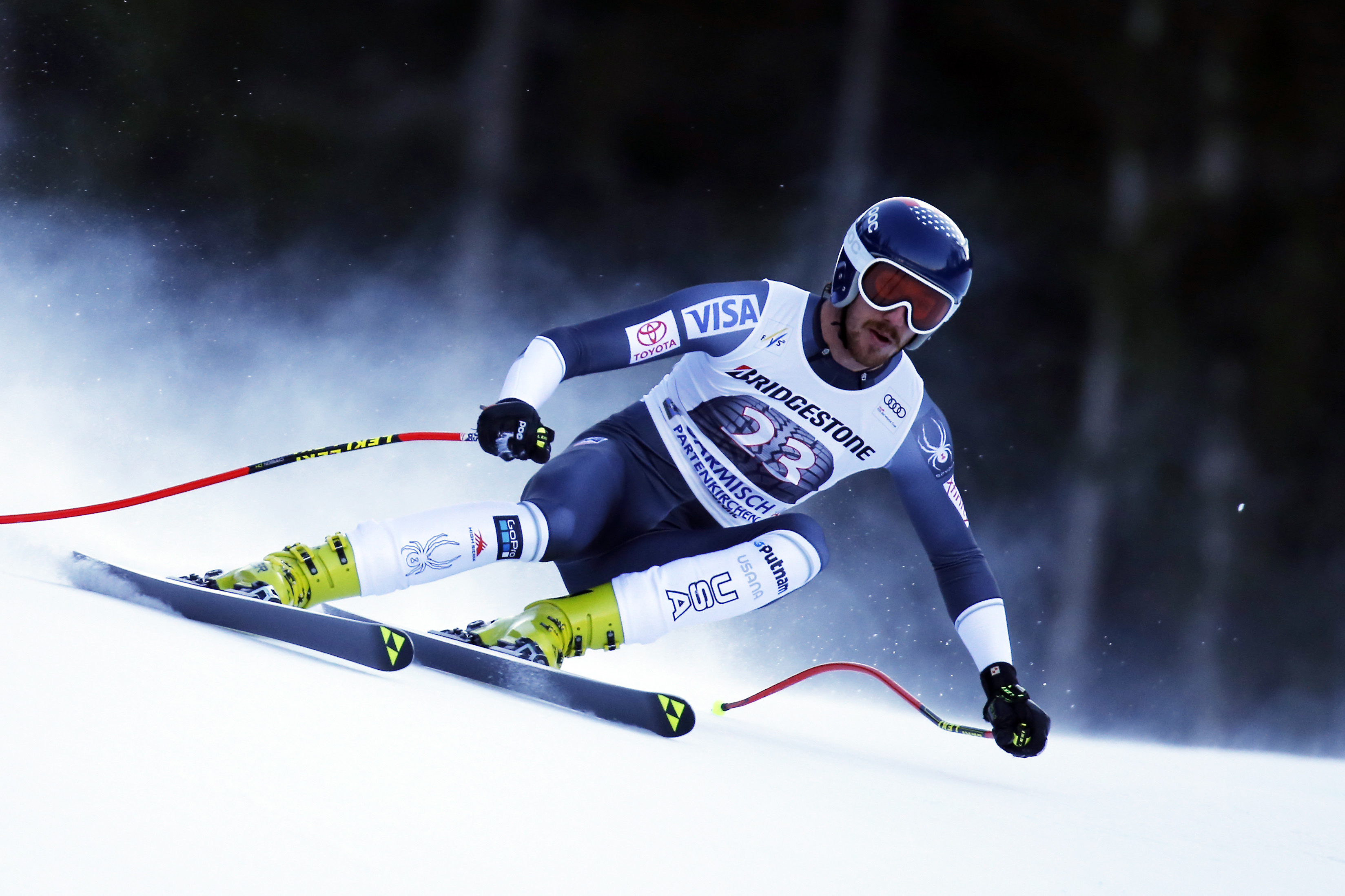 Bryce Bennett, shown here competing earlier this season in Garmisch, Germany, finished 15th in Saturday's World Cup downhill. (Getty Images/Agence Zoom - Alexis Boichard)