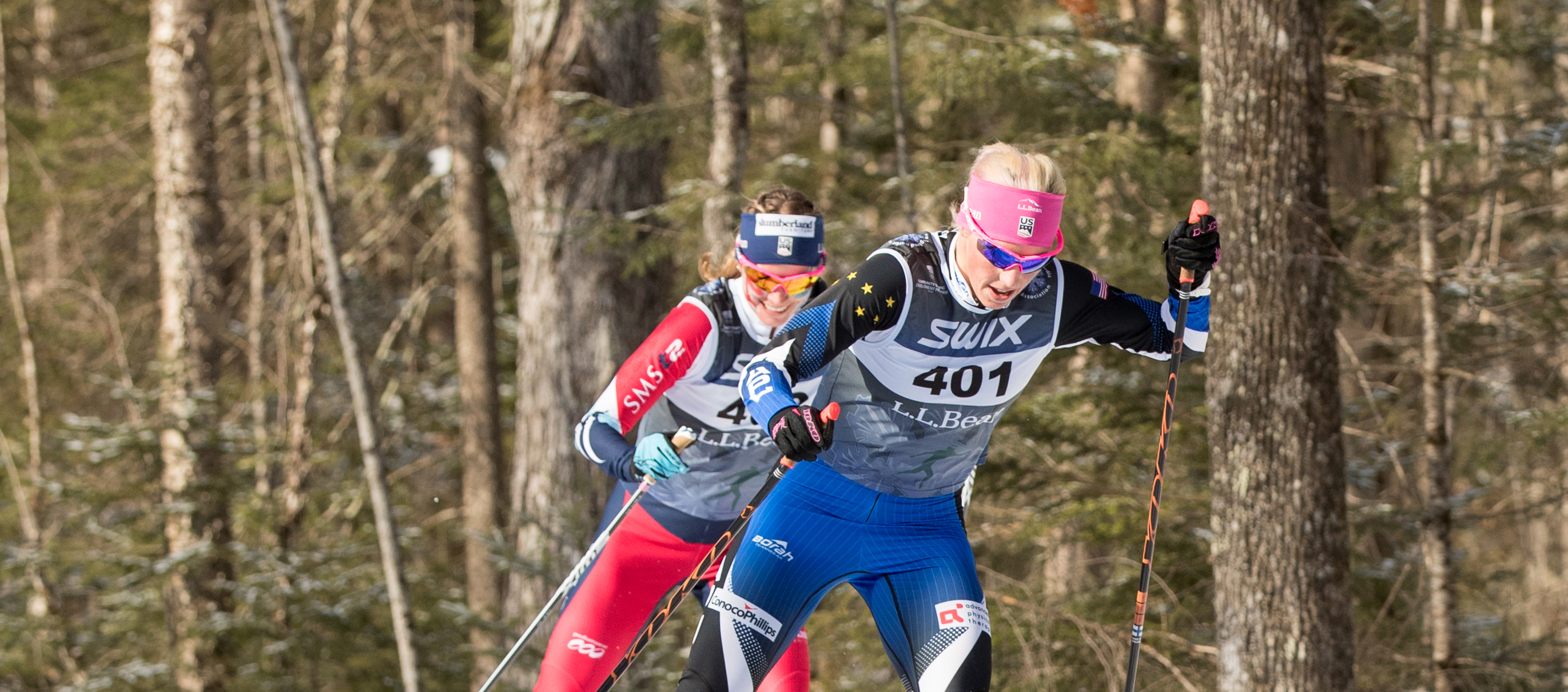 Kikkan Randall leads Jessie Diggins in the final leg at the L.L.Bean U.S. Cross Country Championships team relay Sunday. (U.S. Ski & Snowboard - Reese Brown)