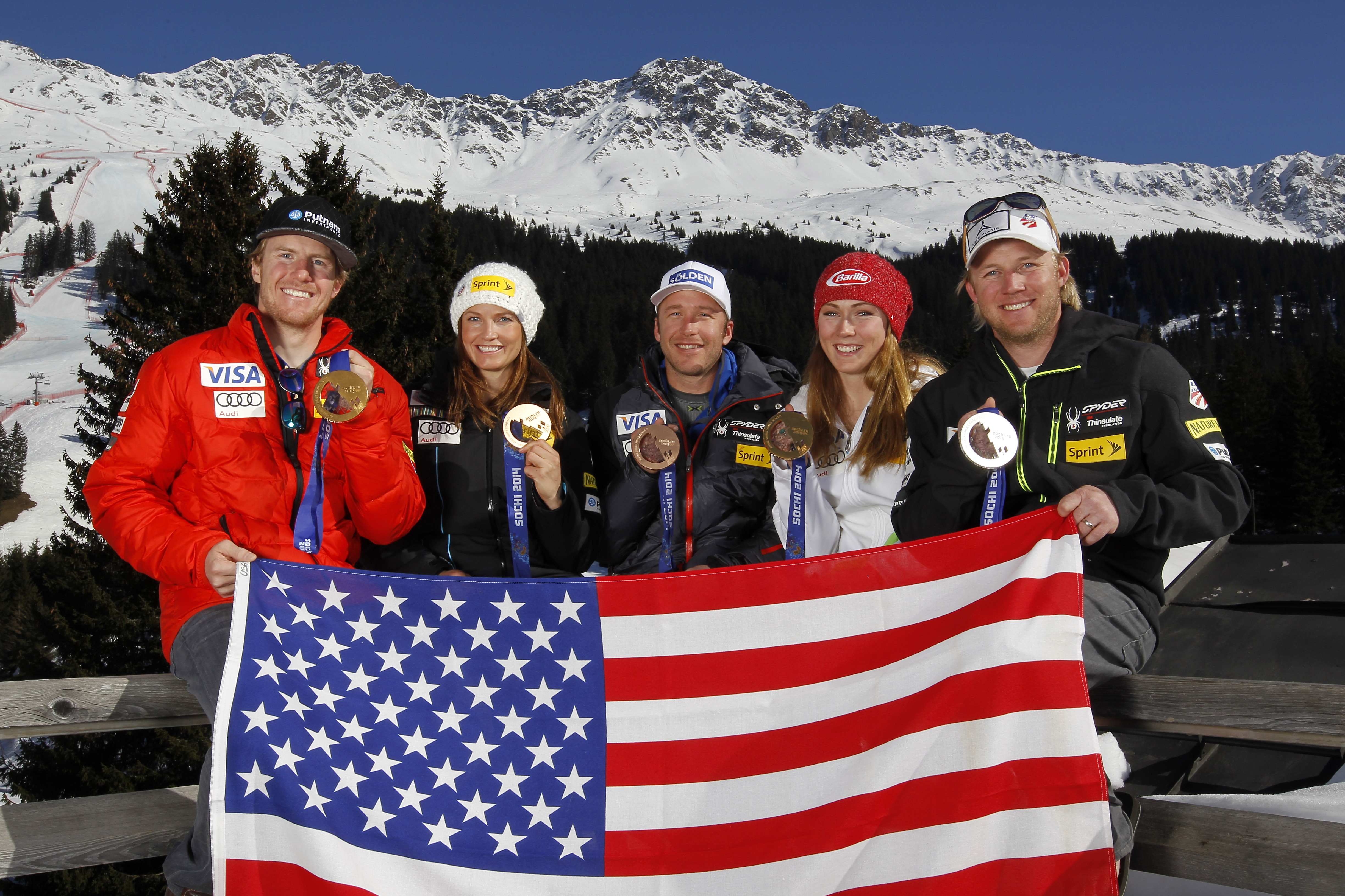 Bode Miller and teammates pose for a picture after the Sochi Olympic Games.
