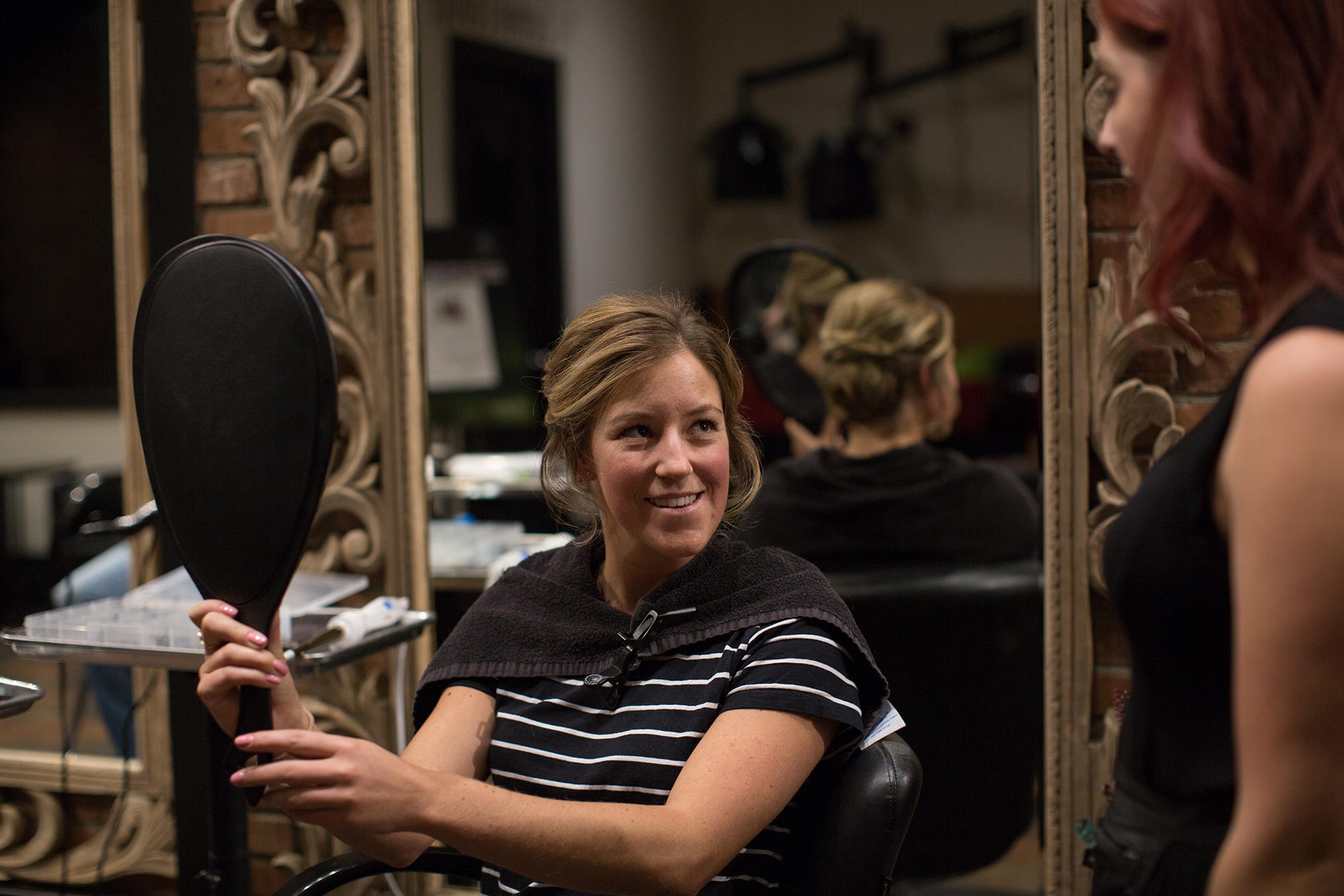 2018 Olympic Bronze medalist freeskier Brita Sigourney gets her hair done at John Paul Mitchell Systems' focus salon, Raika Studio, for the 2018 New York Gold Medal Gala.