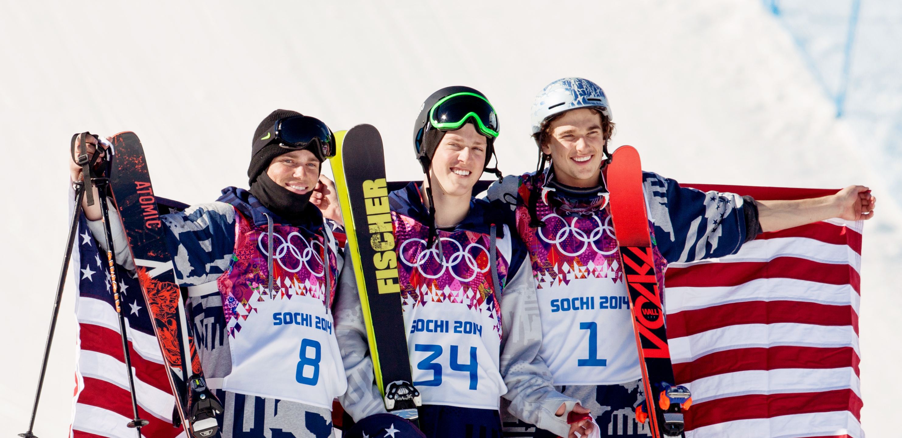 Gus Kenworthy, Joss Christensen and Nick Goepper on the podium in Sochi, Russia.