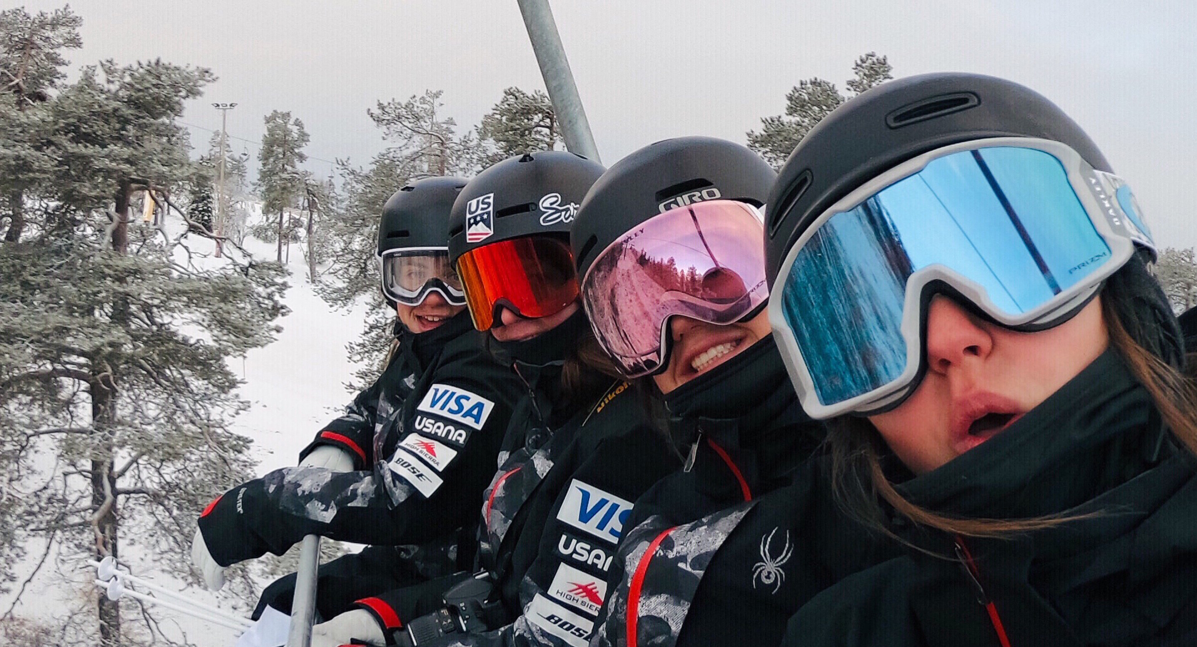The women of the U.S. Moguls Team on site in Ruka, Finland