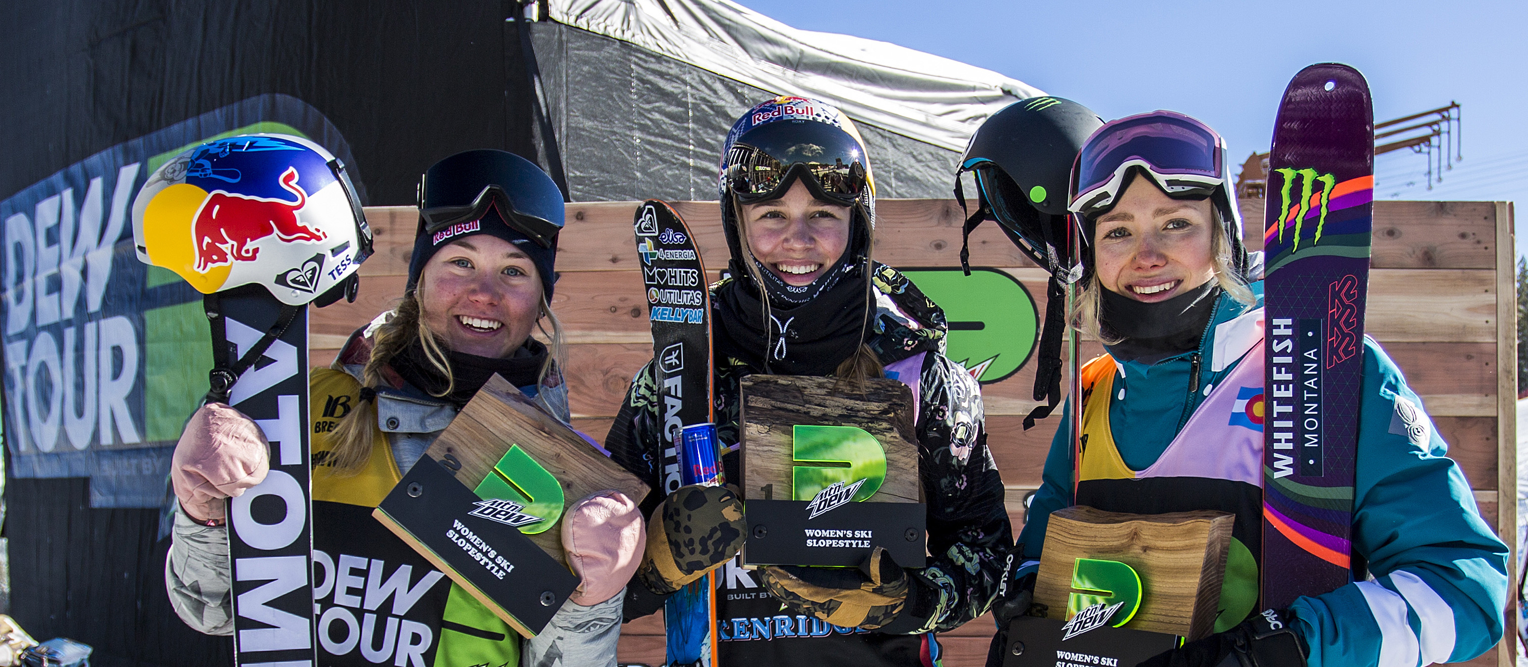 Women's freeski slopestyle podium at Dew Tour.