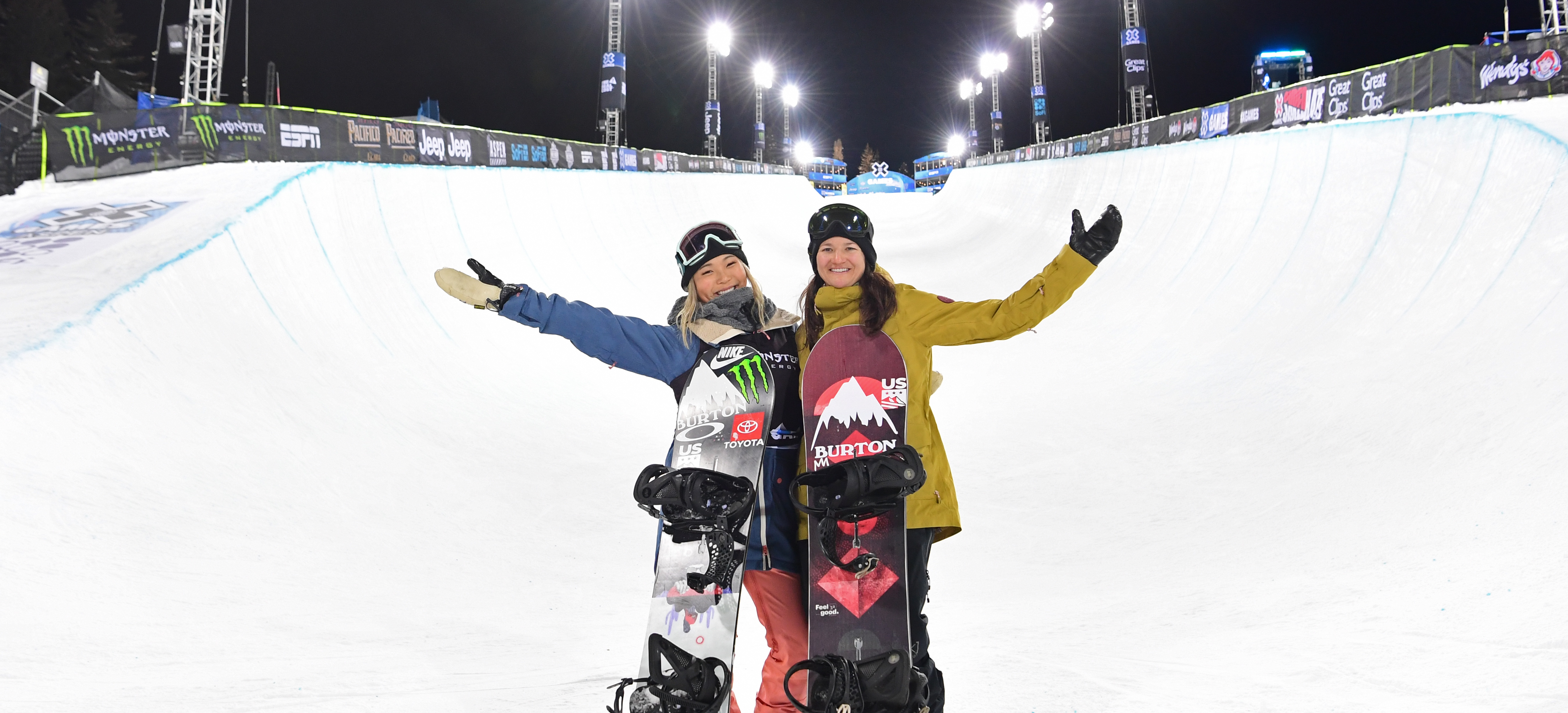 Chloe Kim and Kelly Clark