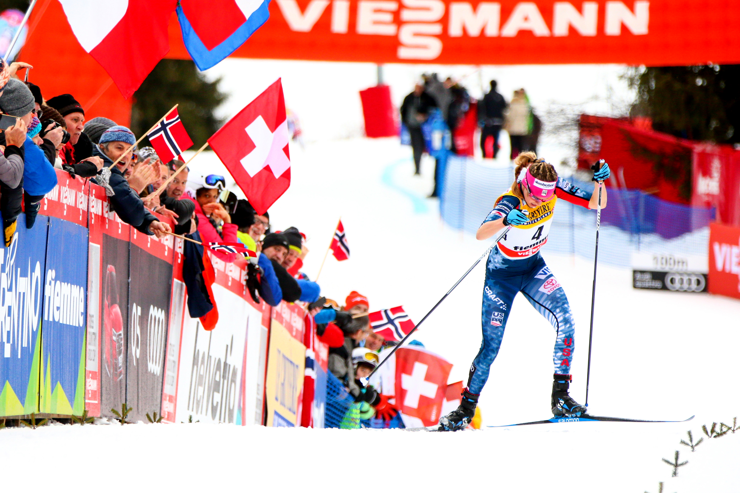 Jessica Diggins finished third in the final stage of the Tour de Ski in 2018 in Val di Fiemme, Italy. (Getty Images/Agency Zoom -  Laurent Salino)