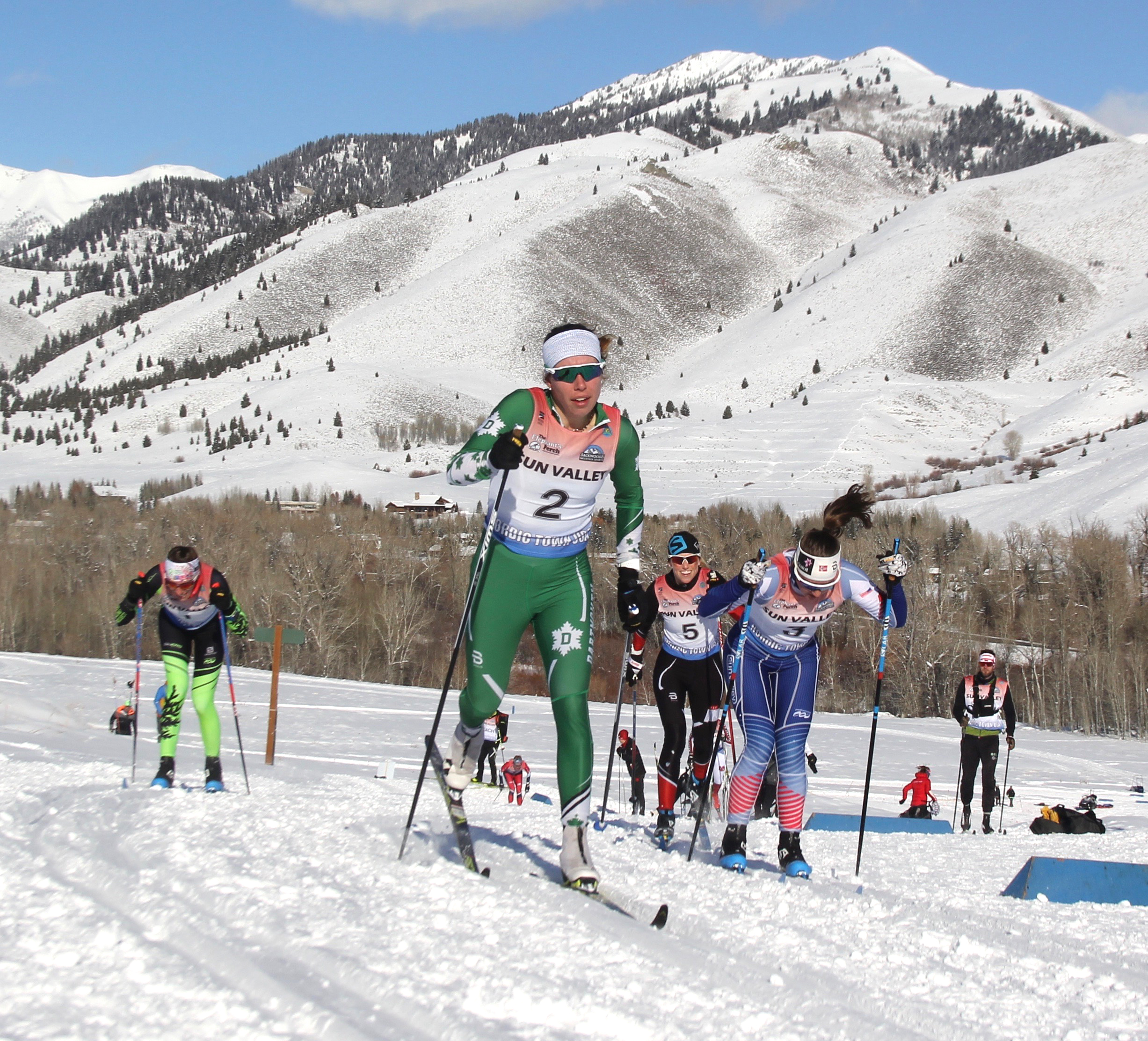 Katherine Ogden leads the women's classic sprint at round 2 of the SuperTour in Sun Valley, Idaho.