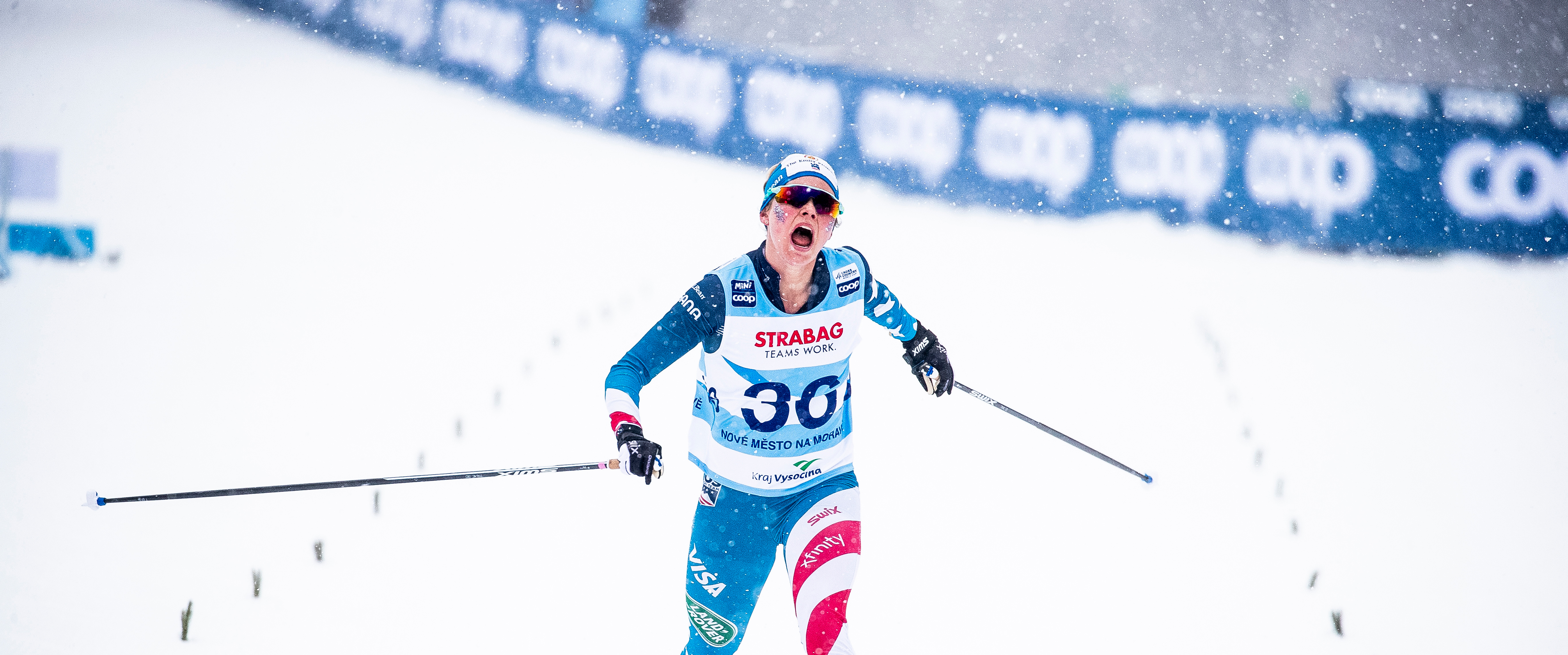 Jessie Diggins finished fourth in Saturday's 10k freestyle FIS Cross Country World Cup. (www.nordicfocus.com. © Modica/NordicFocus.)