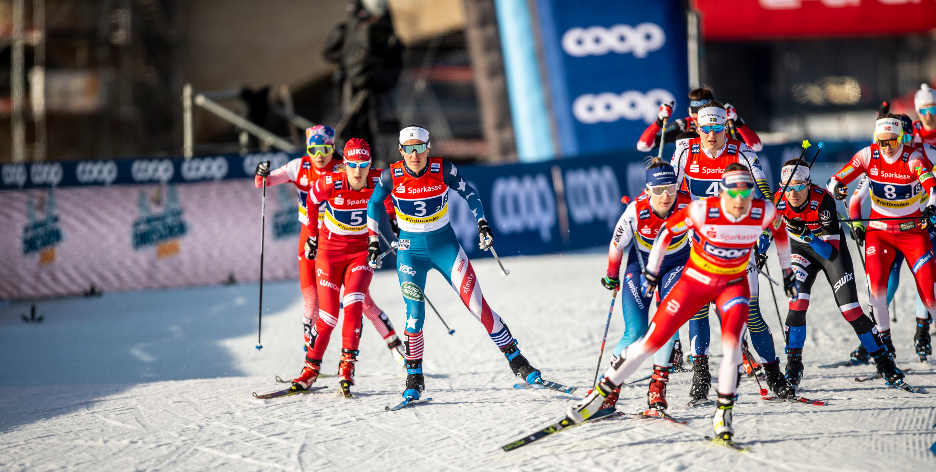 Julia Kern and Sophie Caldwell teamed up to finish fifth in the Team Sprint Sunday in Germany. (www.nordicfocus.com. © Thibaut/NordicFocus)