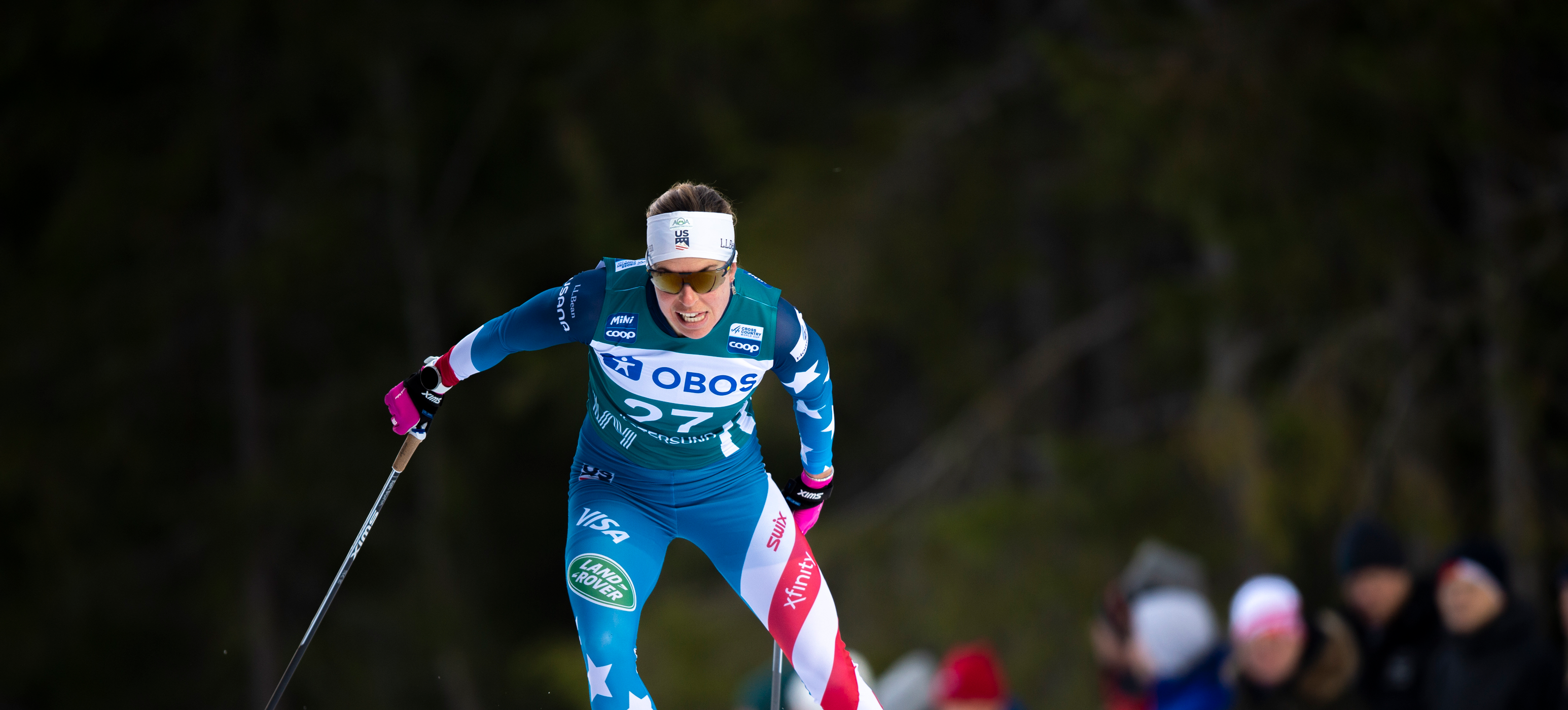 Rosie Brennan opened the nine-day Ski Tour 2020 with a ninth-place finish Saturday. (www.nordicfocus.com. © Vianney THIBAUT/NordicFocus)