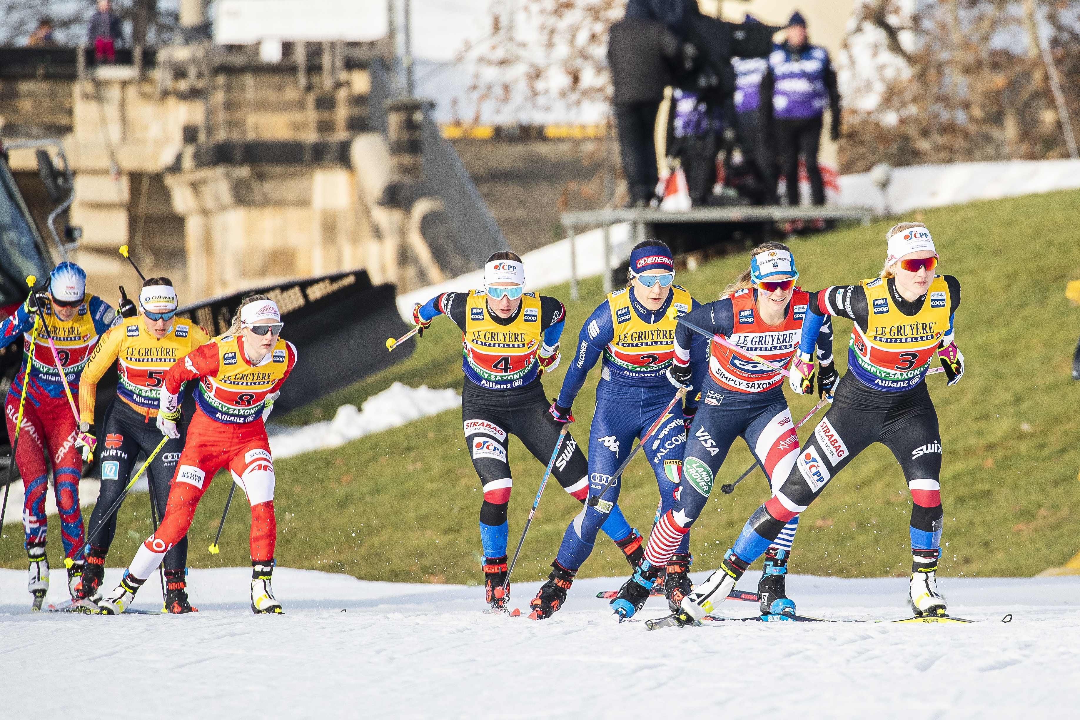 Jessie Diggins leads the pack during Sunday's FIS Cross Country World Cup team sprint in Dresden, Germany. (Modica/NordicFocus)