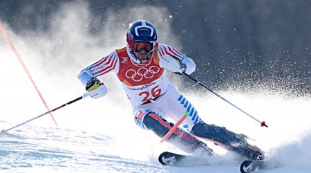 David Chodounsky finished 18th in the slalom Thursday at the 2018 Olympic Winter Games. (Getty Images/AFP – Fabrice Coffrini)