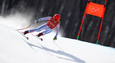 Mikaela Shiffrin competes in the second of three scheduled downhill training runs Monday. (Getty Images - Ezra Shaw)