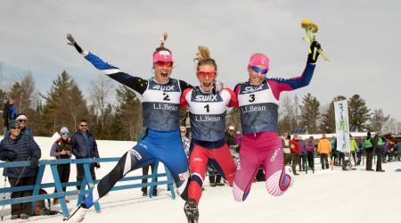 Sadie Bjornsen, Jessie Diggins, and Kikkan Randall celebrate following the women's 30k classic at the L.L.Bean U.S. Cross Country Championship Tuesday. (U.S. Ski & Snowboard - Reese Brown)