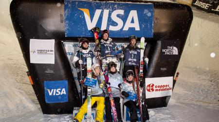 Gus Kenworthy, Aaron Blunck, Kevin Rolland, Marie Martinod, Brita Sigourney and Maddie Bowman at the 2013 U.S. Grand Prix at Copper Mountain, Colorado (U.S. Ski & Snowboard)