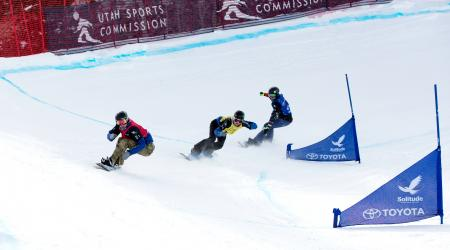 A scene from the FIS World Cup snowboardcross test event held at Solitude Mountain Resort in January 2017