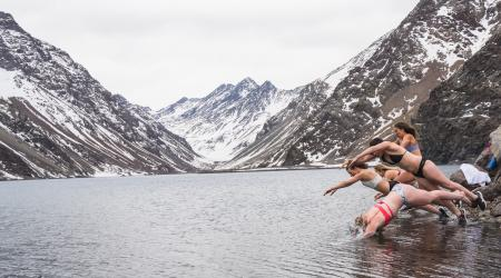 Women Dive in the Frigid Inca Lake in Portillo