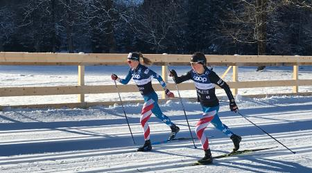 Jessie Diggins and Caitlin Paterson previewed portions of the skiathlon course in Oberstdorf, Germany, Wednesday ahead of this weekend's FIS Cross Country World Cup (U.S. Ski & Snowboard - Tom Horrocks)