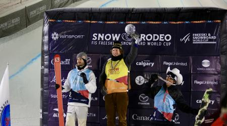 Aaron Blunk (Center) wins the overall halfpipe world cup alongside Canada's Noah Bowman (Left) and teammate Birk Irving (Right) in third.