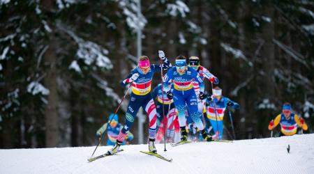 Sadie Maubet Bjornsen pushed the pace throughout Sunday's team sprint. (Thibaut/NordicFocus)